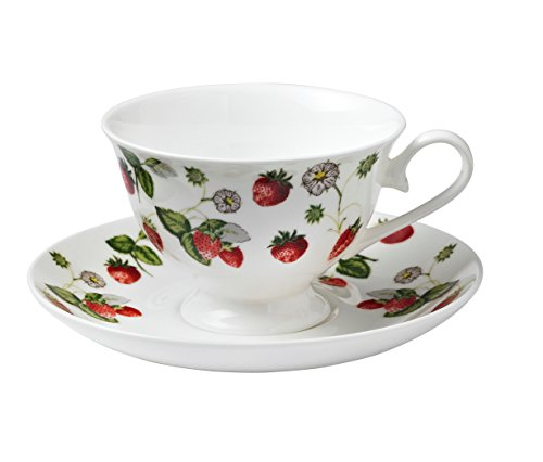 Ulster Weavers RHS Strawberry Footed Bone China Cup and Saucer