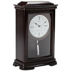 Seiko Mantel Chime with Pendulum Clock Dark Brown Alder Case