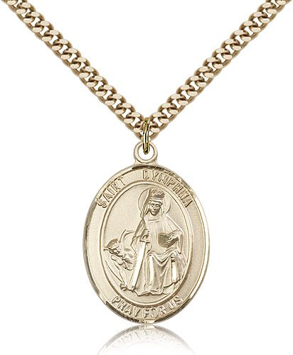"""Jewelsobsession'S Gold Filled St. Dymphna Pendant - 24"""" Chain"""