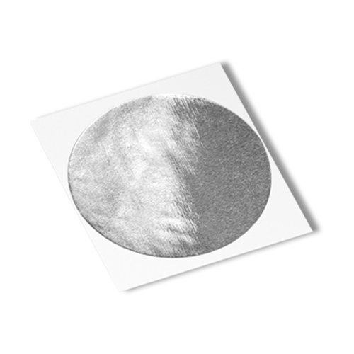 """Tapecase 363 Circle-0.875""""-250 Silver Aluminum Foil/Glass Cloth/Silicone 3M 361 High Temperature Adhesive Electrical Tape, -65 Degrees F To 600 Degrees F, 0.88"""" Length, 0.875"""" Width (Pack Of 250)"""