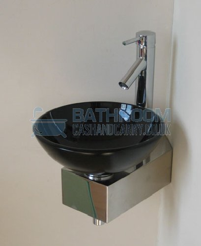 Cloakroom sink round glass wash basin small compact space mini black corner tap ebay - Glass cloakroom basin ...