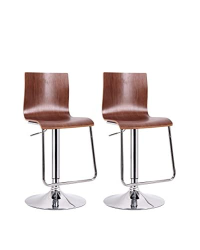 Baxton Studio Set of 2 Lynch Modern Bar Stools, Walnut