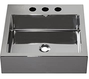 "Barclay Products 7-353SB Madison Square Stainless Steel Above Counter Basin with 8"" WS, Brushed Stainless"