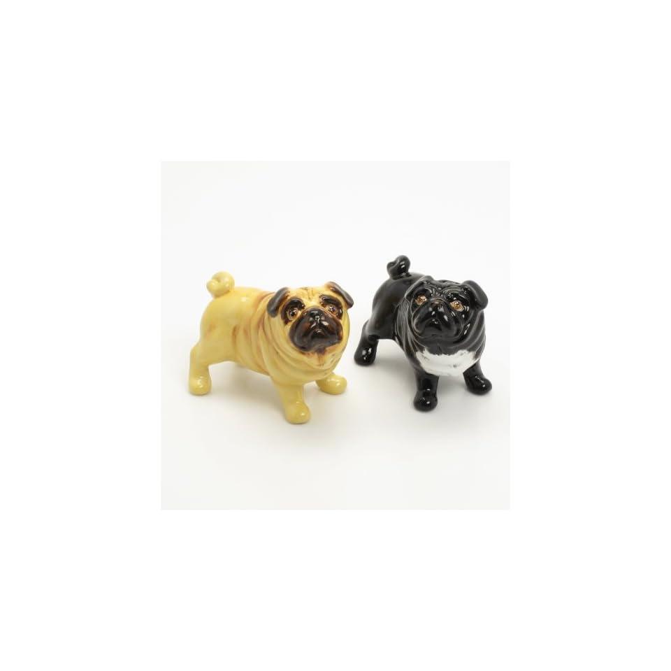 Pug Dog Ceramic Figurine Salt Pepper Shaker L00013 Ceramic Handmade Dog Lover Gift Collectible Home Decor Art and Crafts