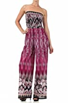 Sakkas G8861 Paisley Smocked Tube Top Wide Leg Jumpsuit - Magenta - Medium