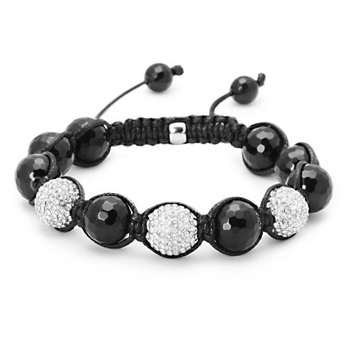 3 CZ Cut Black Onyx Buddhist Jabari Disco Ball Bracelet