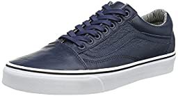 Vans Unisex OLD Skool Leather Skate Shoe (11 B(M) US Women / 9.5 D(M) US Men, DRESS BLUES/STRIPES)