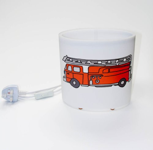 artistic oval (8 inch wide, 8 inch high) table lamp / bedside lamp with a colourful fun drawing of a fire engine