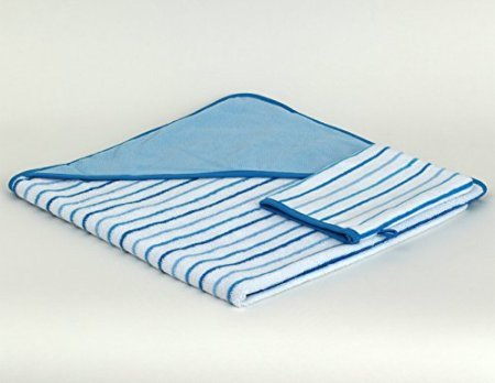 TowelSelections Turkish Cotton Hooded Terry Velour Baby Bath Towel and Glove Set Made in Turkey Blue Striped - 1