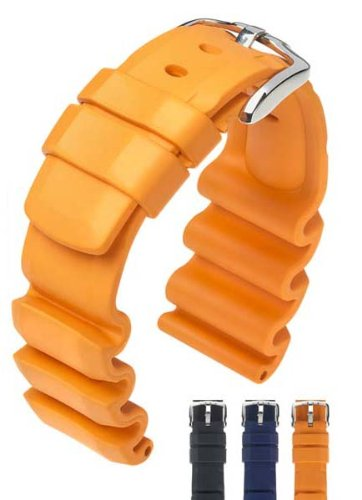 HIRSCH Extreme L, Natural Rubber Watch Strap in Orange, 22 mm, Steel Buckle