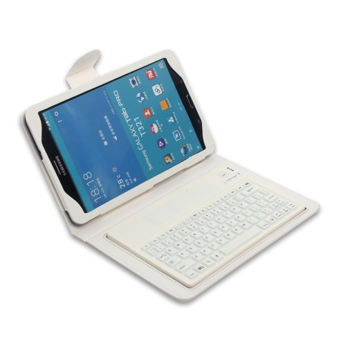 "Tpcromeer Wireless Bluetooth Silicone Keyboard Pu Leather Case Cover With Stands For Samsung Galaxy Tab Pro 8.4"" 8.4 Inch Sm-T320 / T321 / T325 Tablet - White"