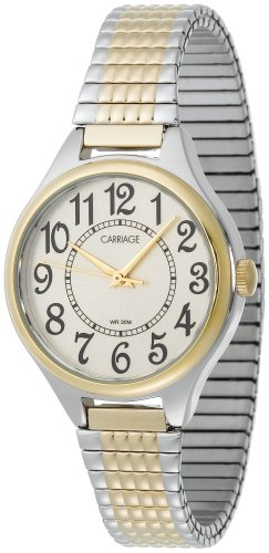 Carriage Women'S C3C367 Two-Tone Round Case White Dial Two-Tone Expansion Band Watch
