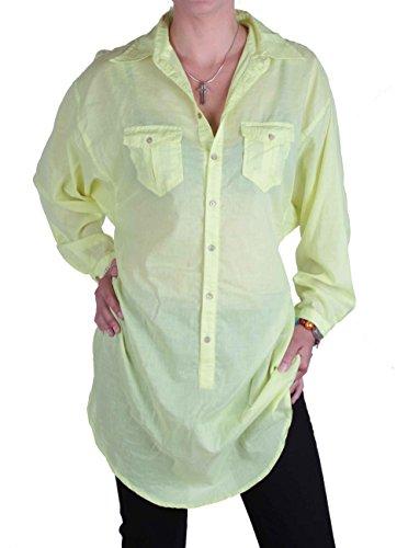 Diesel Damen Bluse Hemd Longbluse Kleid Neon-Gelb Onesize #18