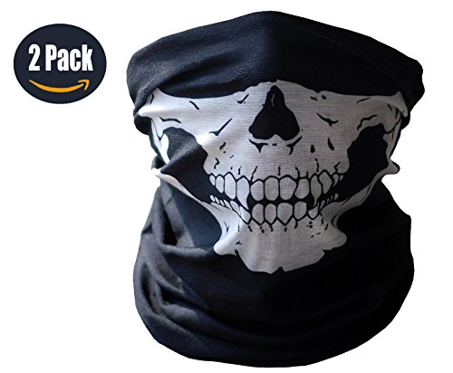 Motorcycle Face Masks 2 Pieces Xpassion Skull Mask Half Face for Out Riding Motorcycle Black (Motorcycle Accessories For Women compare prices)