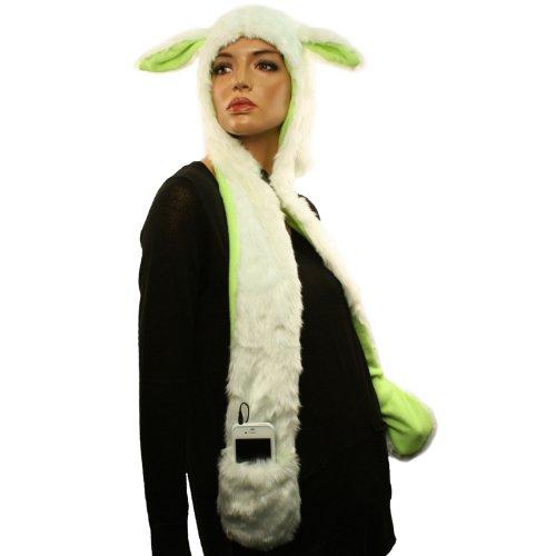 Headphones Speakers Winter Faux Animal Fur Trapper Pocket Ski Hat Ivory Lime