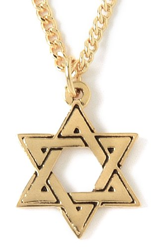 """22k Yellow Gold Plated Pewter Star of David Pendant by Bob Siemon, 20"""""""