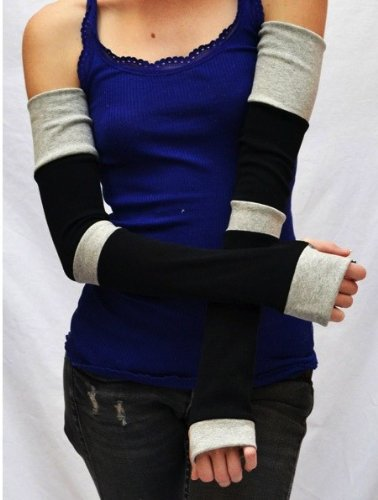 Trixy Xchange Extra Long Black and Grey Striped Patchwork Arm Warmers