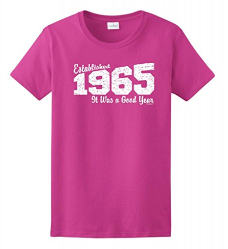 50Th Birthday Gift Established 1965 Good Year Distressed Ladies T-Shirt Xl Heliconia