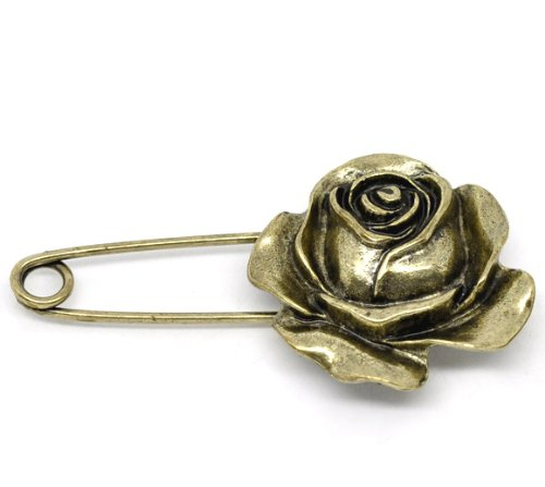 10 Bronze Tone Flower Safety Pins Brooches 5.9X3.1Cm