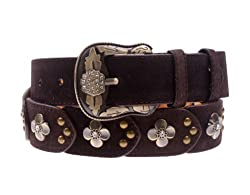 Herebuy - Vintage Leather Belts for Women Western Cowgirl Rhinestone Belts (Coffee)