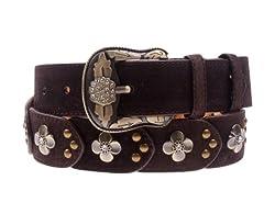 Herebuy - Vintage Leather Belts for Women Western Cowgirl Rhinestone Belts (Coffee)