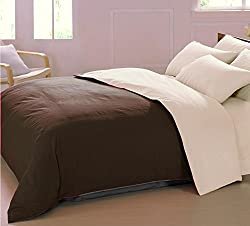 AURAVE Reversible Style Solid Plain Coffee Brown & Beige Cotton Duvet Cover/ Quilt Cover -Single Size (Gift Wrapped)
