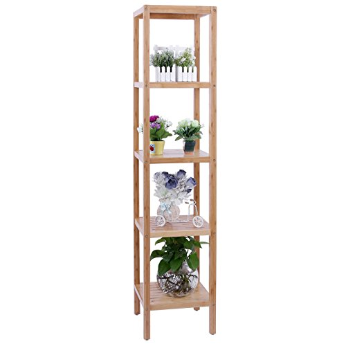 Songmics estanter a de bamb de 5 niveles para hogar y - Estanterias bano carrefour ...