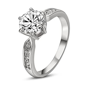 Yours 18k White Gold Plated Rhinestone Jewelry 3.5ct Simulated Diamond Engagement Ring by Italina