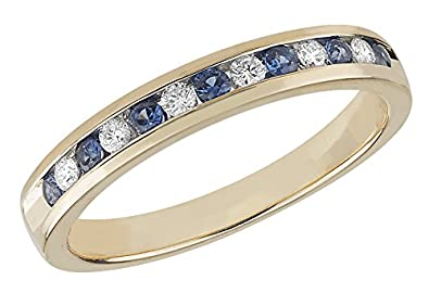 Diamond and Sapphire Half Eternity Ring 9ct White Gold 0.11ct/0.22ct