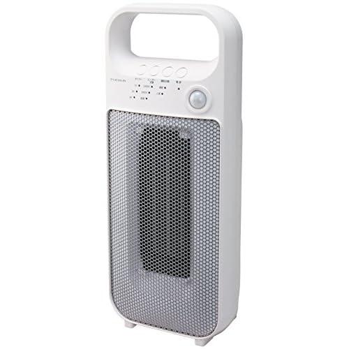 Pieria(ピエリア) 人感センサー付きセラミックヒーター ホワイト 2段階切替 切タイマー 活性炭フィルター(脱臭)付き DCH-1408 WH