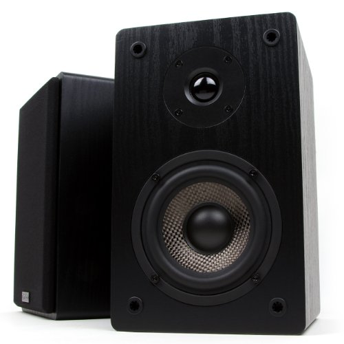 micca-mb42-bookshelf-speakers-with-4-inch-carbon-fiber-woofer-and-silk-dome-tweeter-black-pair
