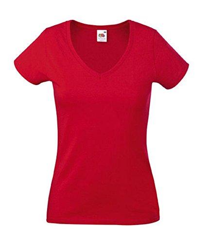 T-Shirt Cotone Donna con Scollo a V Maglietta Maniche Corte Fruit Of The Loom, Colore: Rosso, Taglia: XS