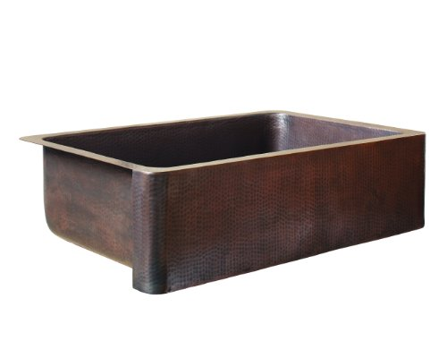 ECOSINKS K1A-1004ND Apron Front Dual Mount Hammered 0-Hole Single Bowl Farmhouse Kitchen Sink, Antique Copper