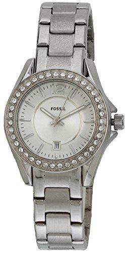 Fossil ES2879 - Reloj analógico de cuarzo para mujer con correa de acero inoxidable, color plateado