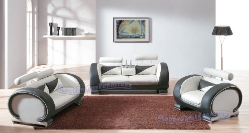 Exquisite Modern Contemporary Leather Living Room Set, White/Black