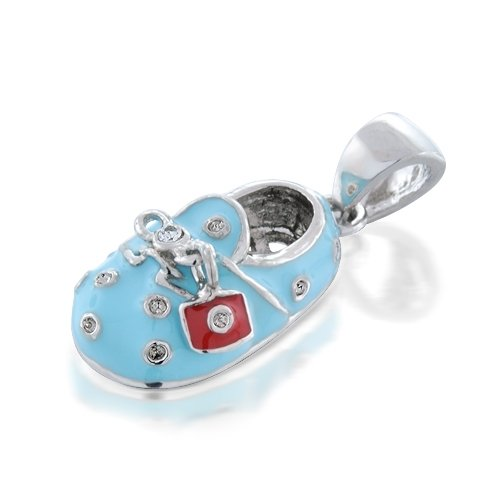 Bling Jewelry Sterling Silver Baby Blue Enamel CZ Saddle Baby Shoe Charm Pendant