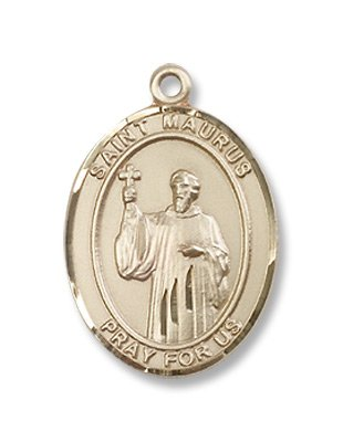 Gold Filled St. Maurus Medal Pendant Charm with 18