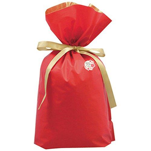 27FKH ギフトラッピング ギフト包装 袋 プレゼント用 贈り物用 ギフト袋 シール おめでとう (LL(幅450×高560×マチ120mm), レッド)