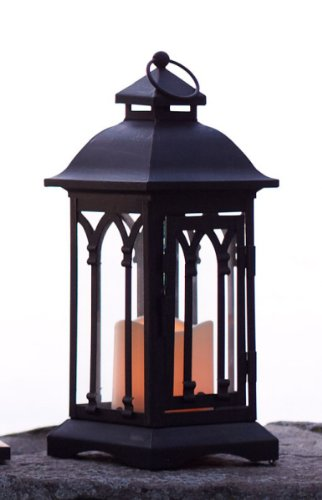12.25″ Black Gothic-Style Lantern with Flameless LED Pillar Candle