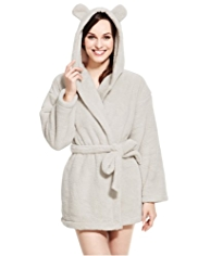 Hooded Teddy Design Dressing Gown