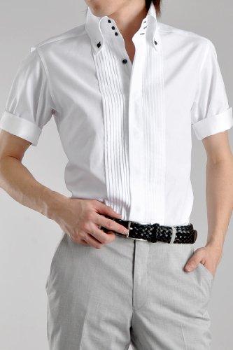 Le orme(ルオルメ)【半袖ドレスシャツ】【A】トレボットーニB.Dホワイト(ピンタック)L(SD-S03CN-980-900-L)(メンズ/ワイシャツ/ビジネス/スーパークールビズ/日本製/綿100%)