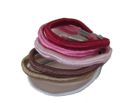 Girls/Ladies Set of 6 Tonal Hair Elastics/Ties - Pink - Great Gift Idea