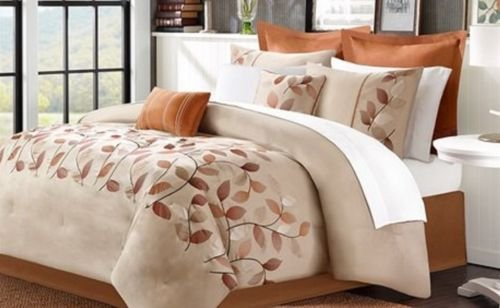 Queen Comforter Set Spice Orange Red Euro Shams Sheet Set Floral Bronze Taupe 12 front-1050967