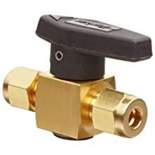 "Parker 4A-PR4-VT-B Brass Plug Valve, 1/4"" A-Lok Compression Fitting"