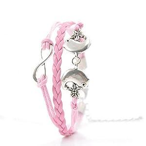 Infinie Bracelet Infini en Cordon Bracelet Tresse Tisse Rose Femme