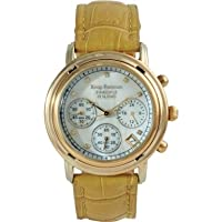 Krug Baumen Ladies Principle Diamond Gold, Champagne Mother of Pearl Dial, Tan Watch 150574DL