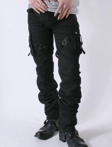 お兄系 カーゴパンツ メンズ【Low box(ローボックス)ベルトデザイン7ポケットカーゴパンツ】 ブラックL(82)