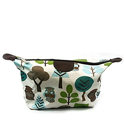 Turquoise /Green / White OWL Design Print Lightweight Holiday / Weekend WASH BAG / Make-up Bag / Compact Toilet Bag