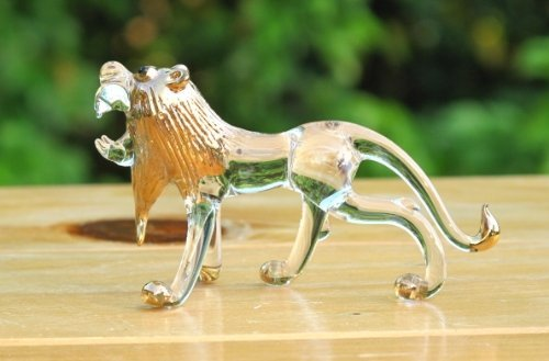 Handmade Lion Art Glass Blown Wild Animal Figurine