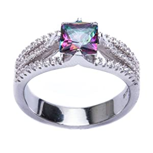 .925 Sterling Silver 2.50ct Square Rainbow Colored CZ & Cz Ring Size 8